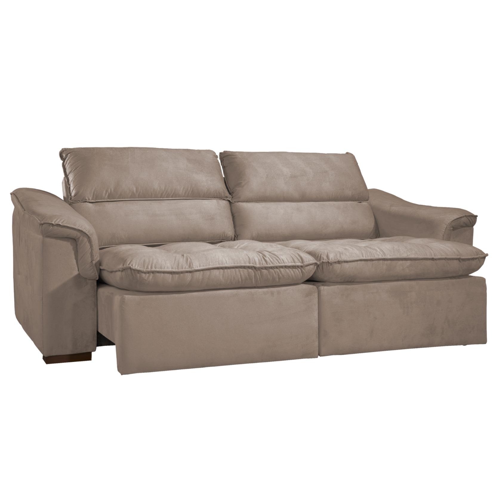 Sofa 4 Lugares Retratil Reclinavel Spazzio Bege 236 cm