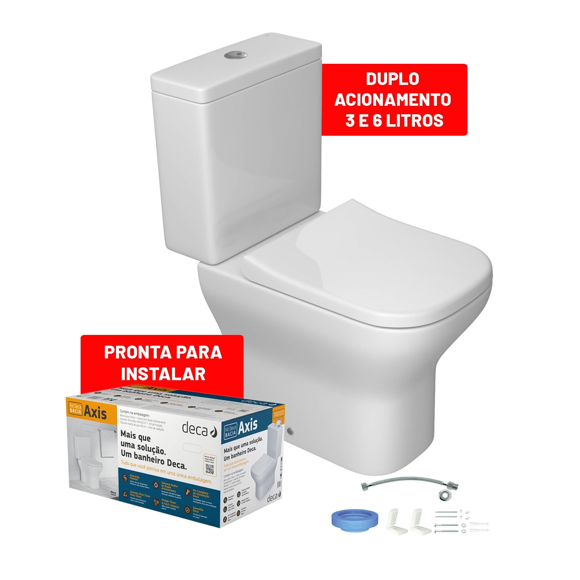 Kit Bacia Sanitaria e Caixa Acoplada 36 Litros Axis com Acessorios Branca KP47017 - Deca