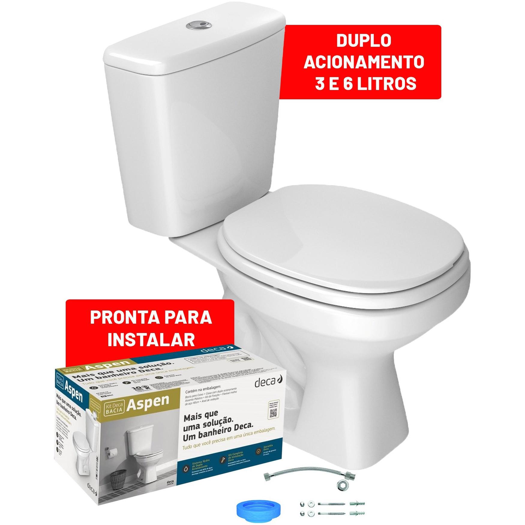 Kit Bacia Sanitaria e Caixa Acoplada 36 Litros Aspen com Acessorios Branca KP75017 - Deca