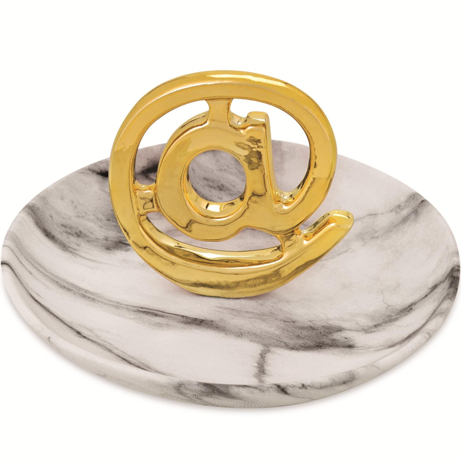 Porta-treco Ceramica 13cm Dourado com Prato - Mart