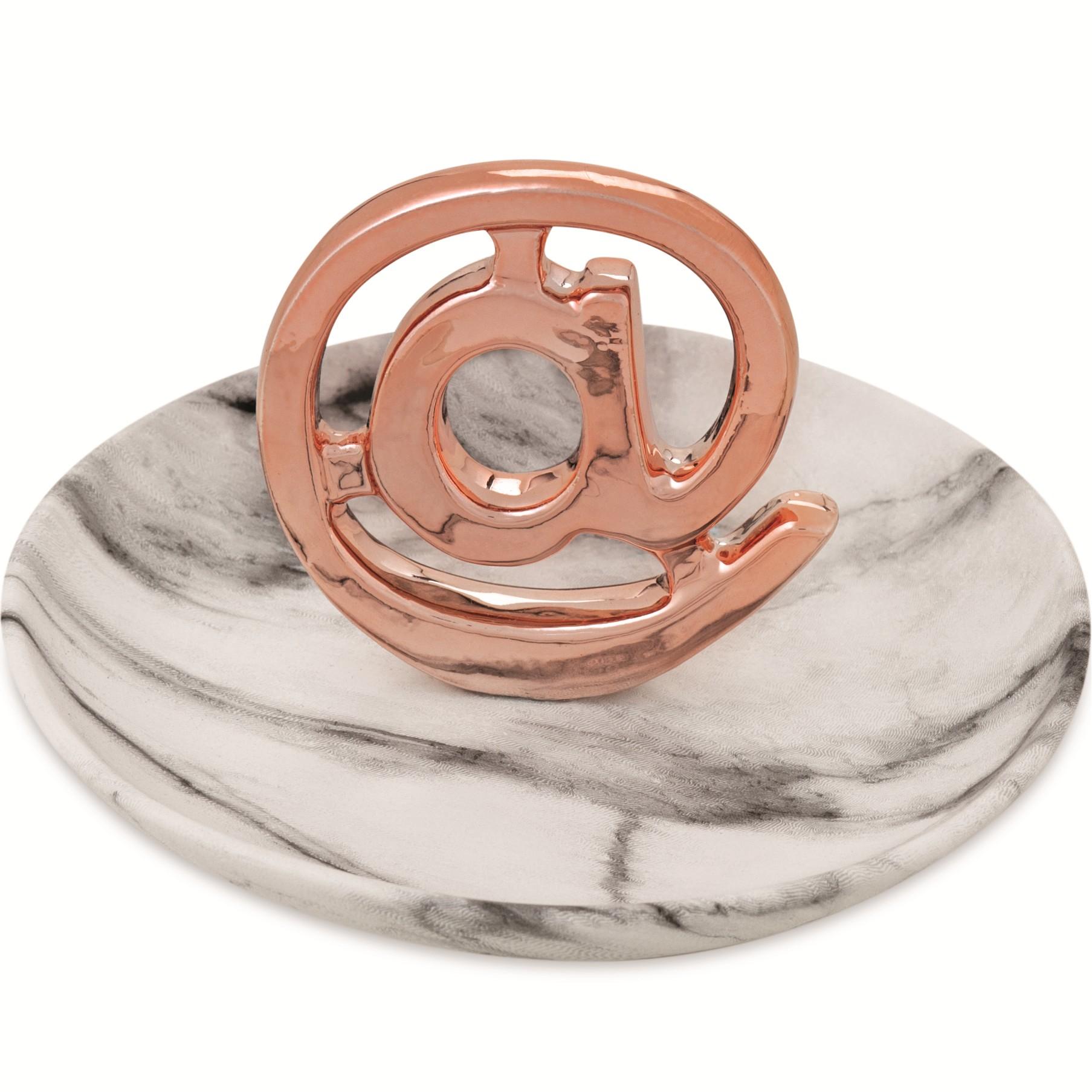 Porta-treco Ceramica 13cm Rose Gold com Prato - Mart