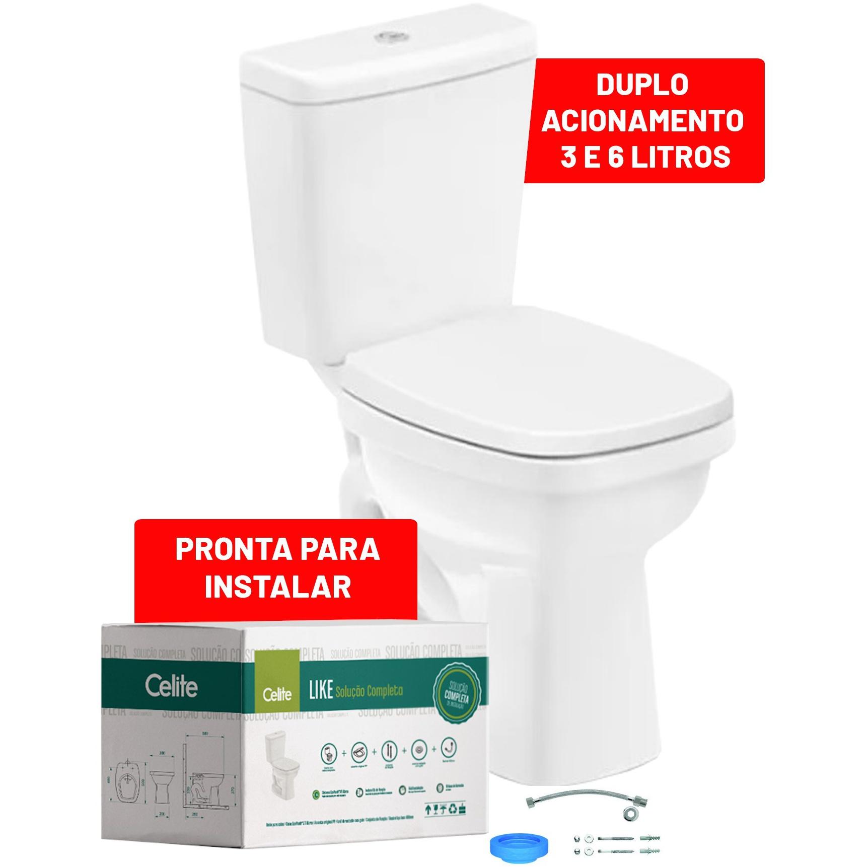 Kit Bacia Sanitaria com Caixa Acoplada 36 Litros Like com Acessorios Branco - Celite