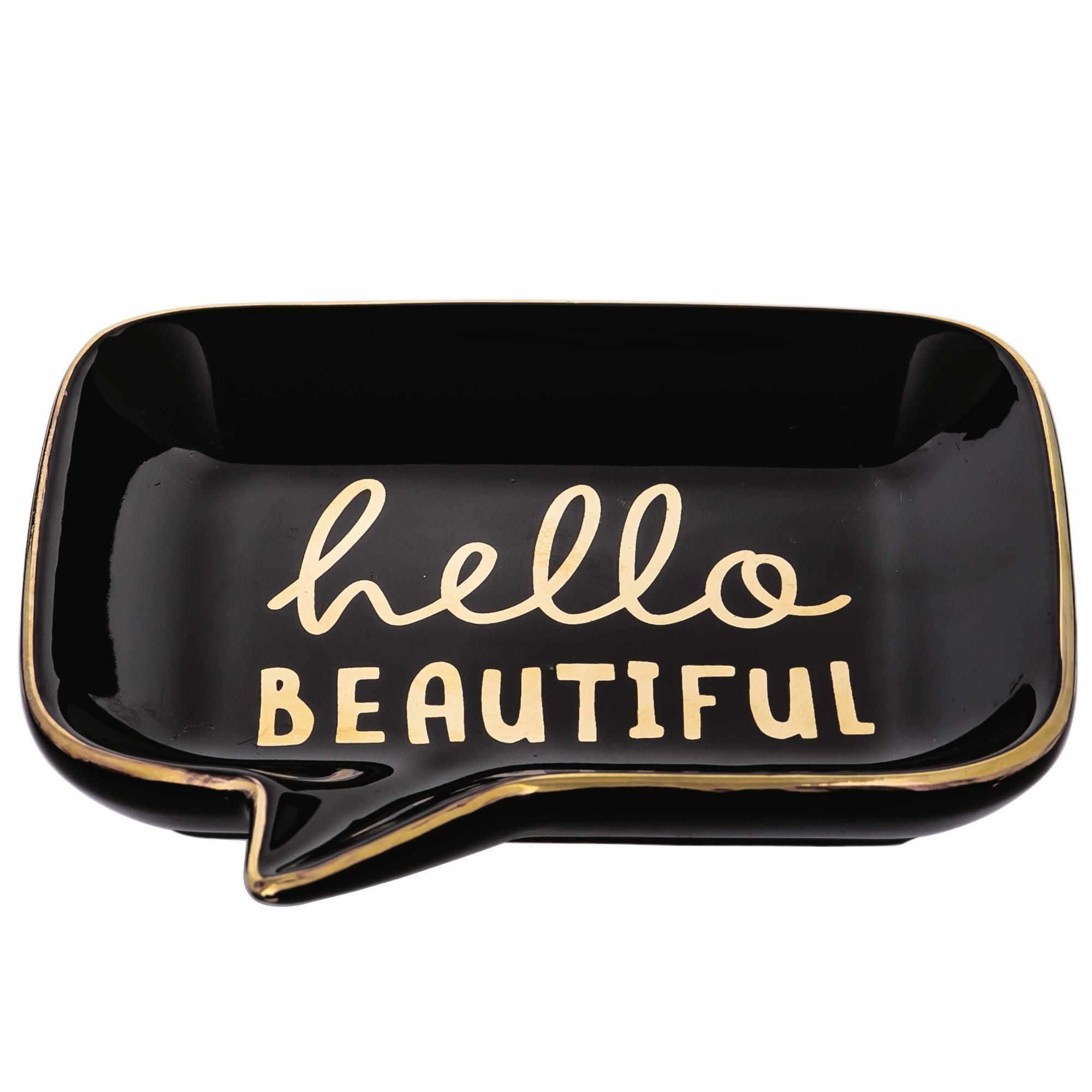 Porta-treco 12cm Ceramica Preto Hello - Mart