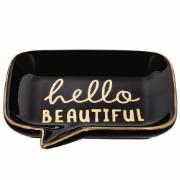 Porta-treco 12cm Cerâmica Preto Hello - Mart