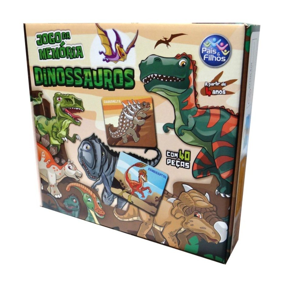 Jogo da Memoria 40 pecas Dinossauros - Pais e Filhos