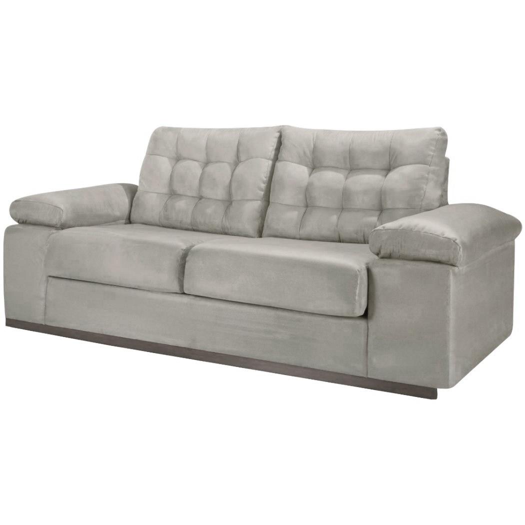 Sofa 3 Lugares Herval Suede Bege 233 cm