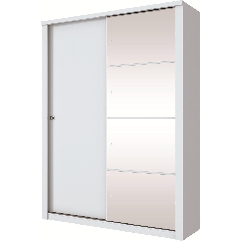 Guarda-roupa Solteiro com Espelho 2 Portas Branco Alegro - Henn