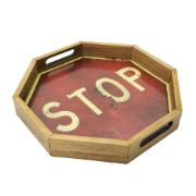 Bandeja Vintage Oitavada Stop 30cm Vermelha - Az Design