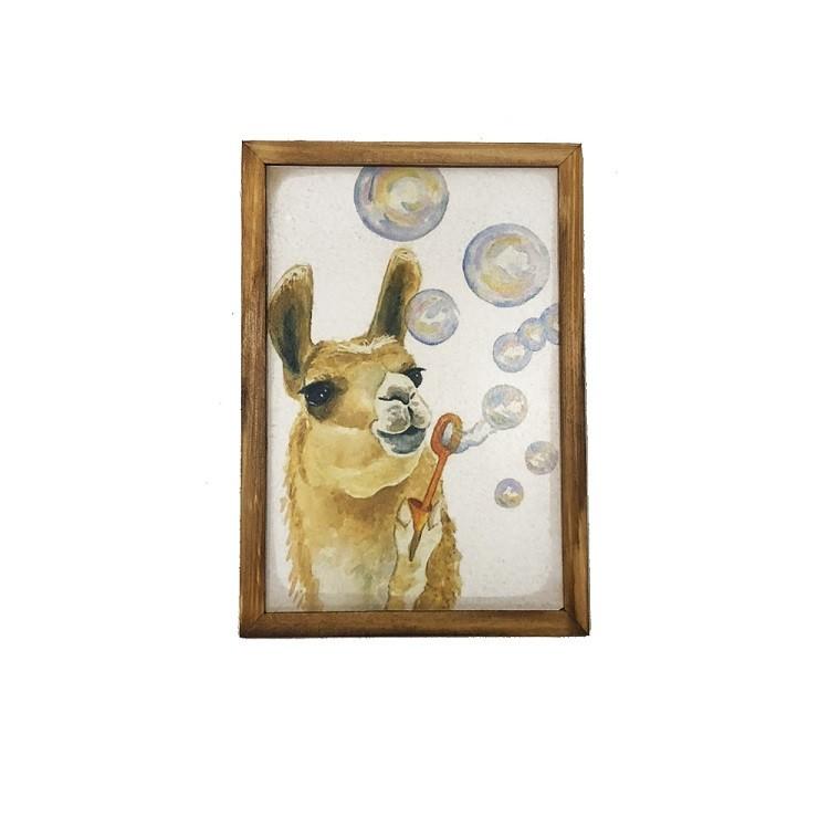 Quadro Decorativo 20x30 cm Lhama Bolinhas de Sabao Branco - Az Design