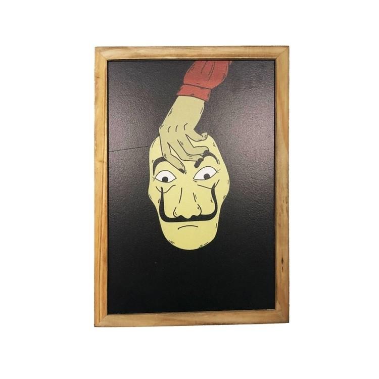 Quadro Decorativo 20x30 cm Mascara La Casa De Papel Preto - Az Design