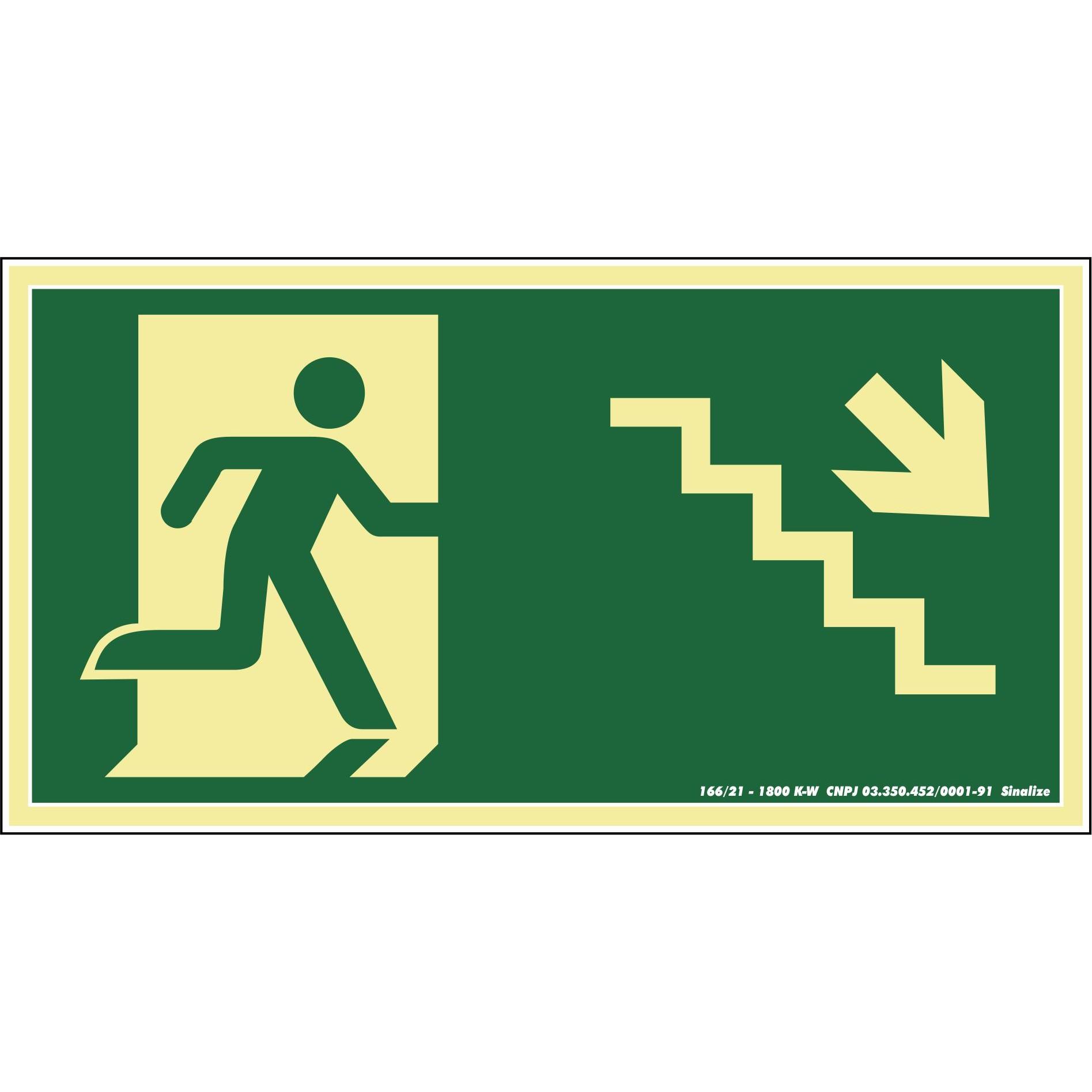 Placa de PVC Saida De Emergencia - Escada Desce A Direita 30cm x 15cm Verde Escuro - Sinalize