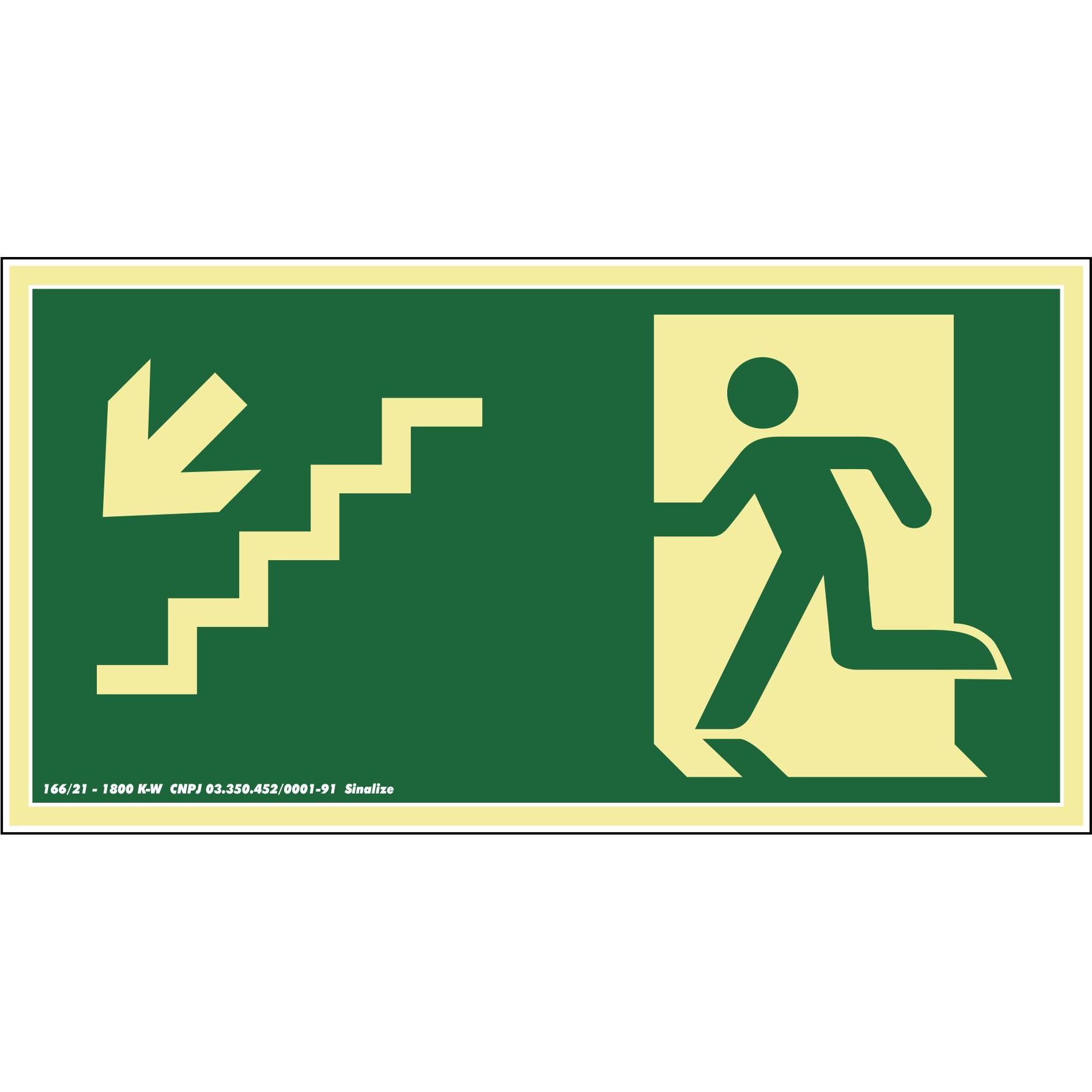 Placa de PVC Saida De Emergencia - Escada Desce A Esquerda 30cm x 15cm Verde Escuro - Sinalize