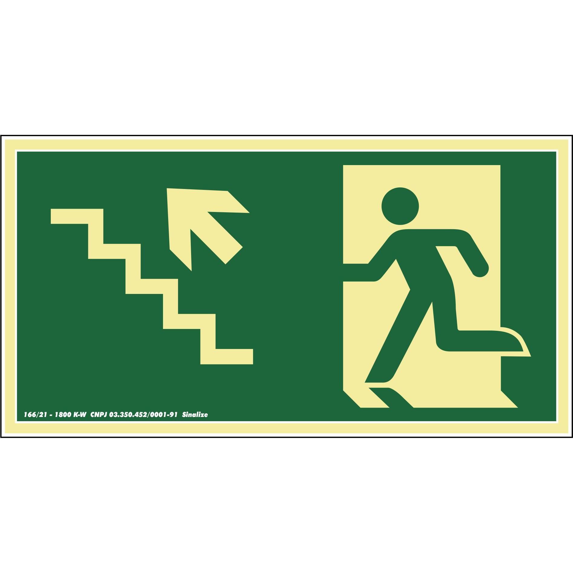 Placa de PVC Saida De Emergencia - Escada Sobe A Esquerda 30cm x 15cm Verde Escuro - Sinalize