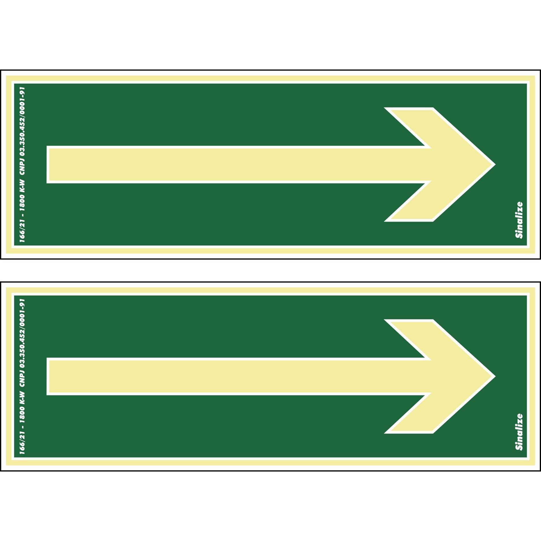 Placa de PVC Seta Reta De Emergencia Para Rodapes 30cm x 14cm Verde Escuro - Sinalize