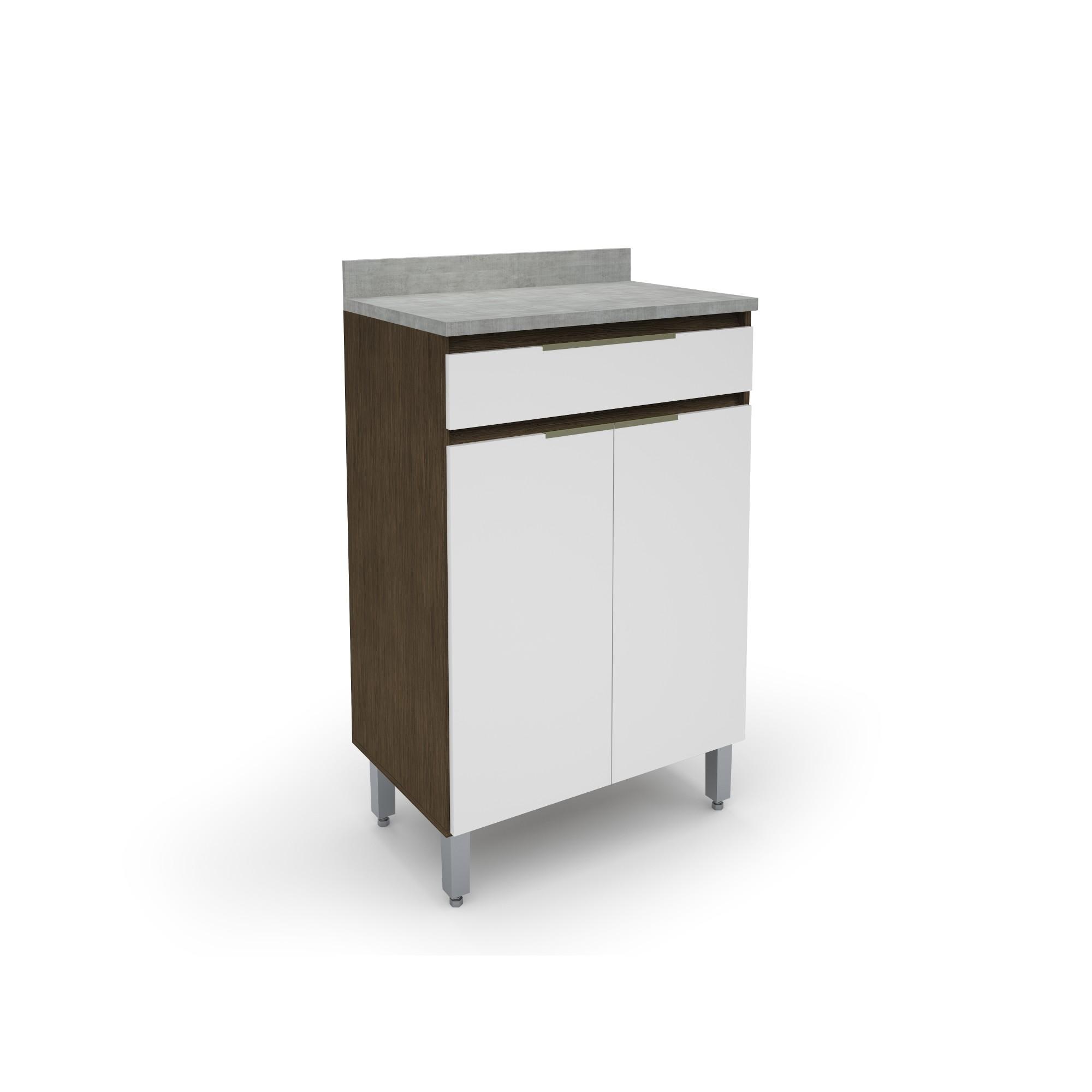 Gabinete Cozinha 2 Portas 1 Gaveta New Tannat Branco 70cm - Batrol