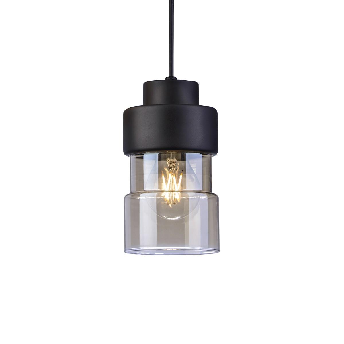 Lustre Aluminio Moai E27 Ambar 1 Lampada OR249 - Orluce