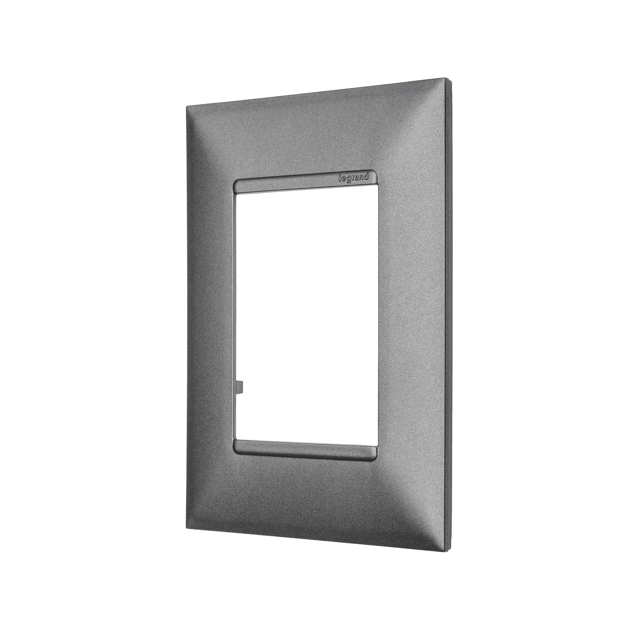Placa 4 x 2 Quadrada 3 Postos Pearl Aluminio - Pial Plus - Legrand