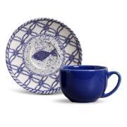 Xícara de Chá 198ml com Pires Peixe Azul - Porto Brasil