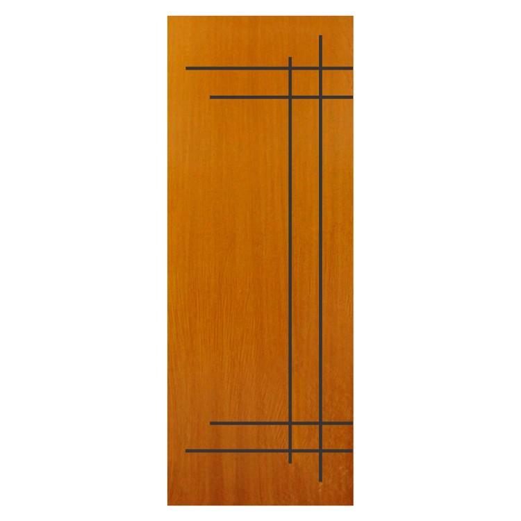 Porta de Madeira de Abrir Frisada Colmeia 80x210 cm Angelim - Marrom - Belissima