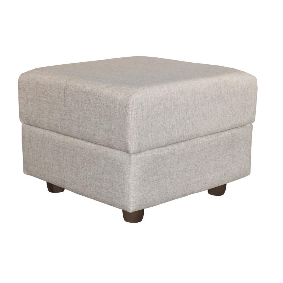 Puff Quadrado 50x50cm Clarice Linho Bege 2154 - Estofart