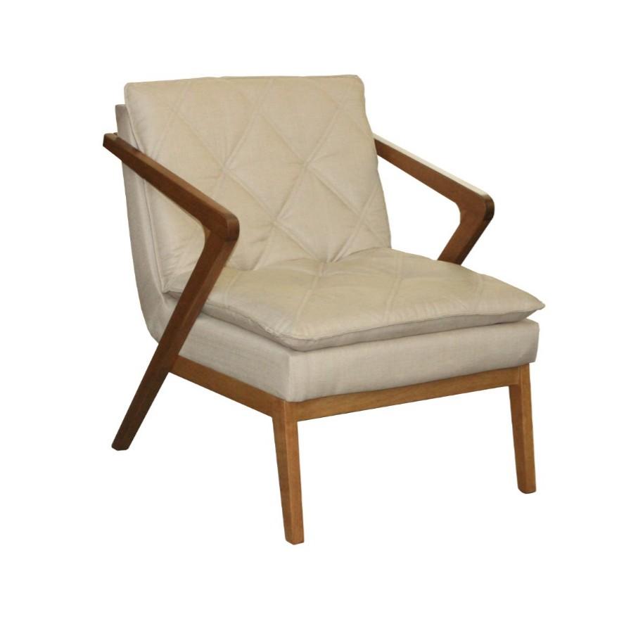 Cadeira Estofada Lua para Sala Tecido de Fibras Mistas Bege - Estofart