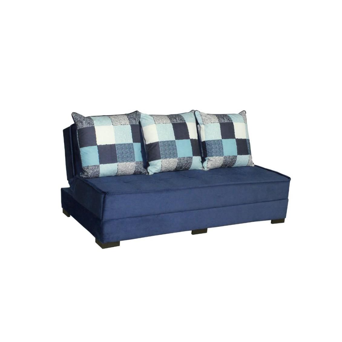Sofa Cama 3 Lugares Beach Suede com Almofadas Removiveis - Azul Esuro - Estofart