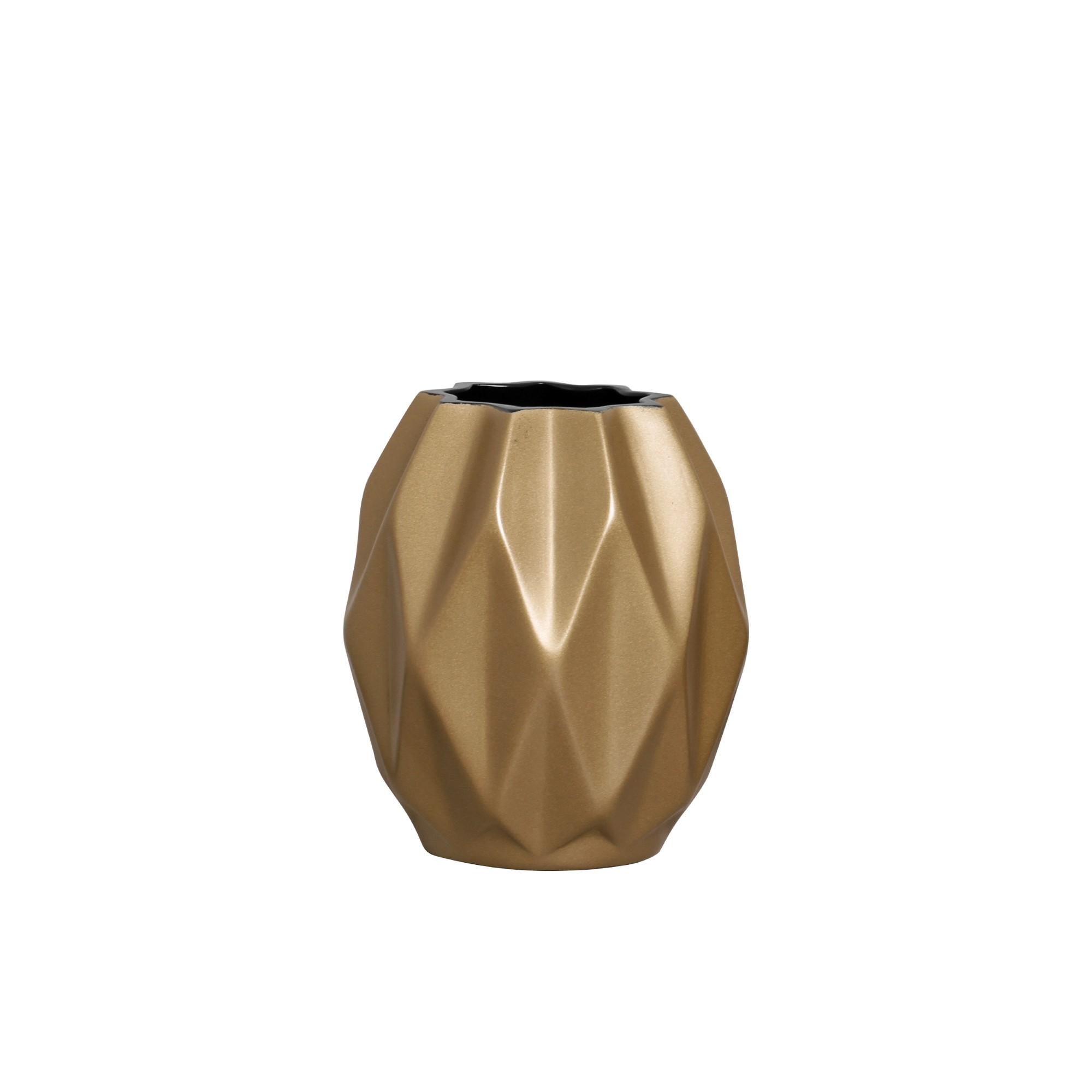 Vaso Decorativo Ceramica 16cm Redondo Dourado 5215 - Ana Maria