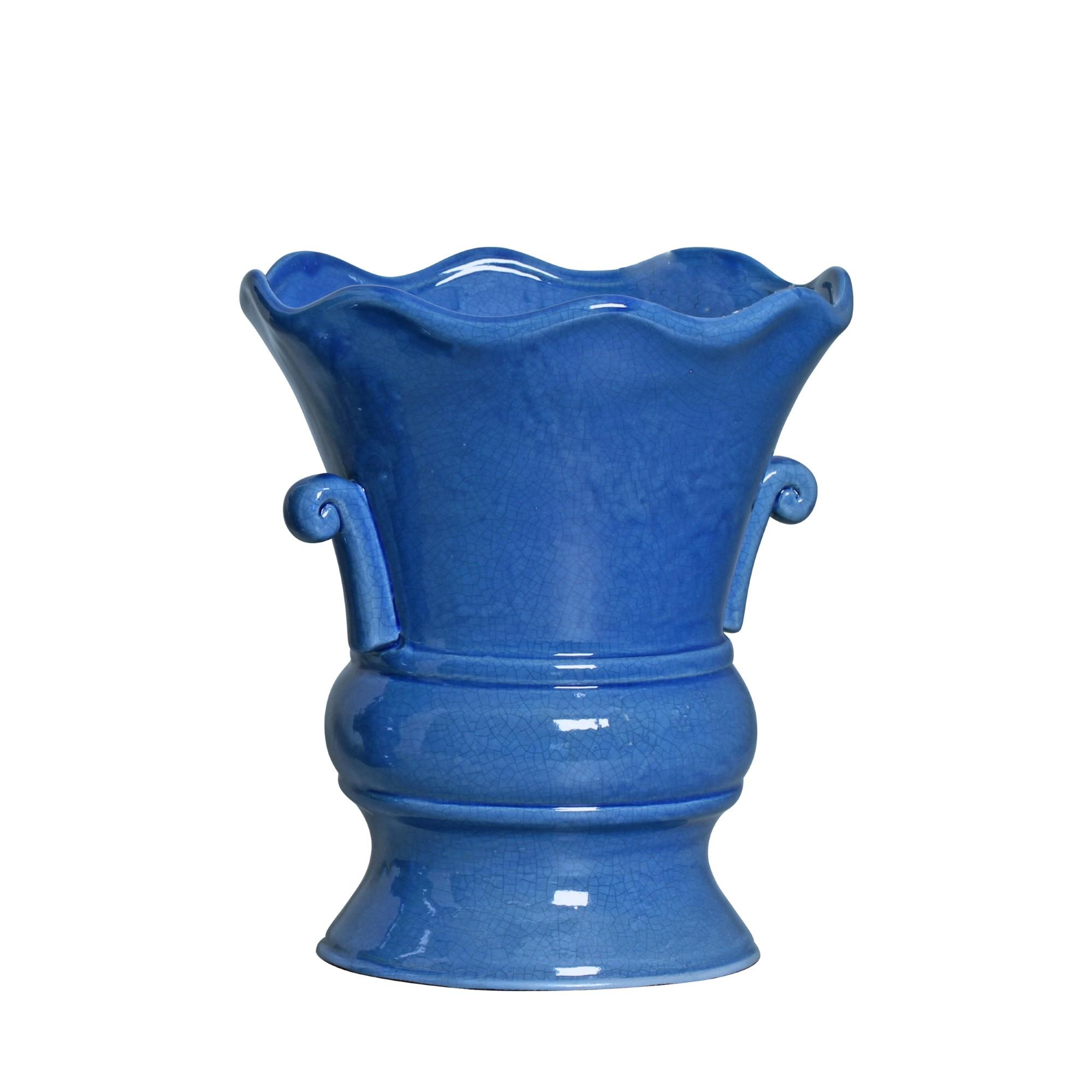 Vaso Decorativo Ceramica 28cm Redondo Azul Craquele 5246 - Ana Maria
