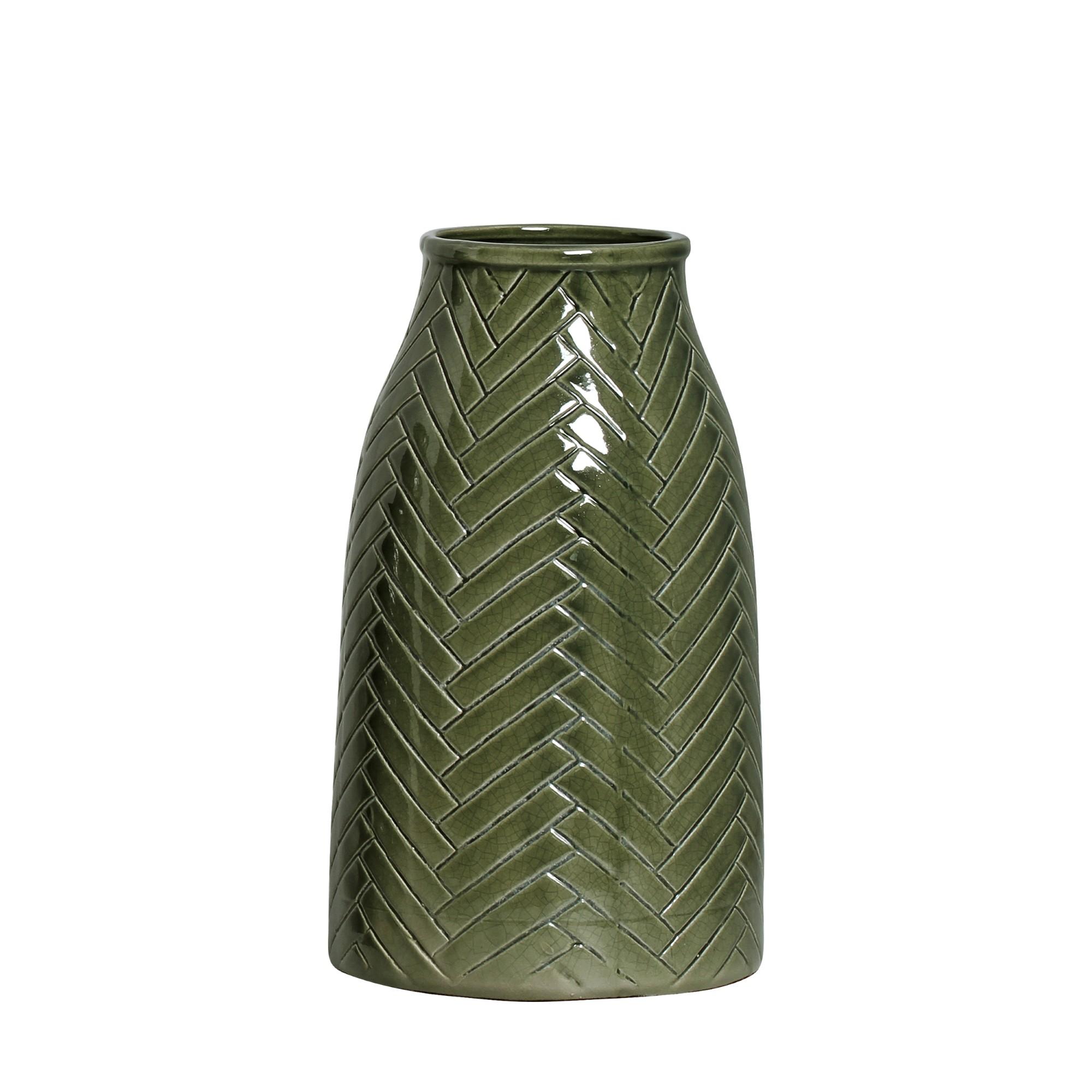Vaso Decorativo Ceramica 31cm Redondo Verde Musgo 5291 - Ana Maria
