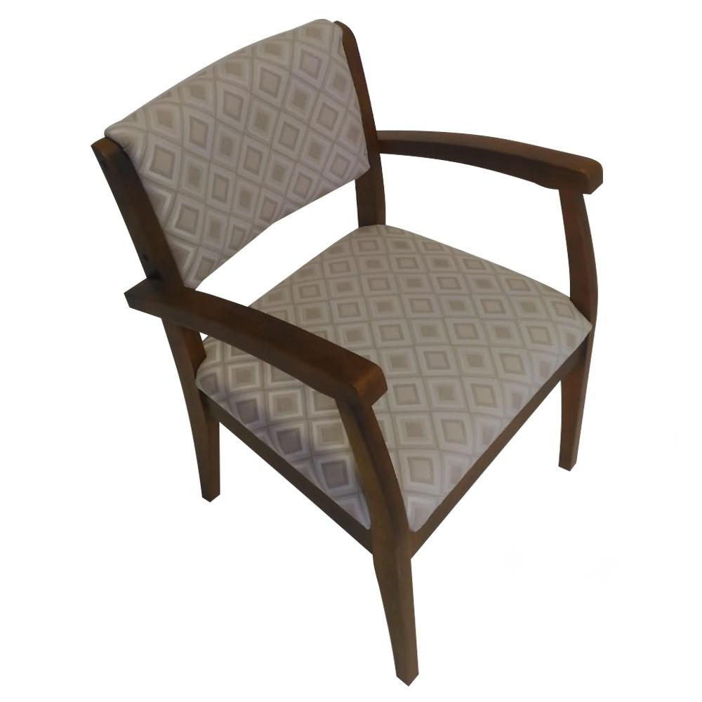 Cadeira Estofada de Aproximacao com Apoio de Braco Jacquard Losango Bege - L2 Design