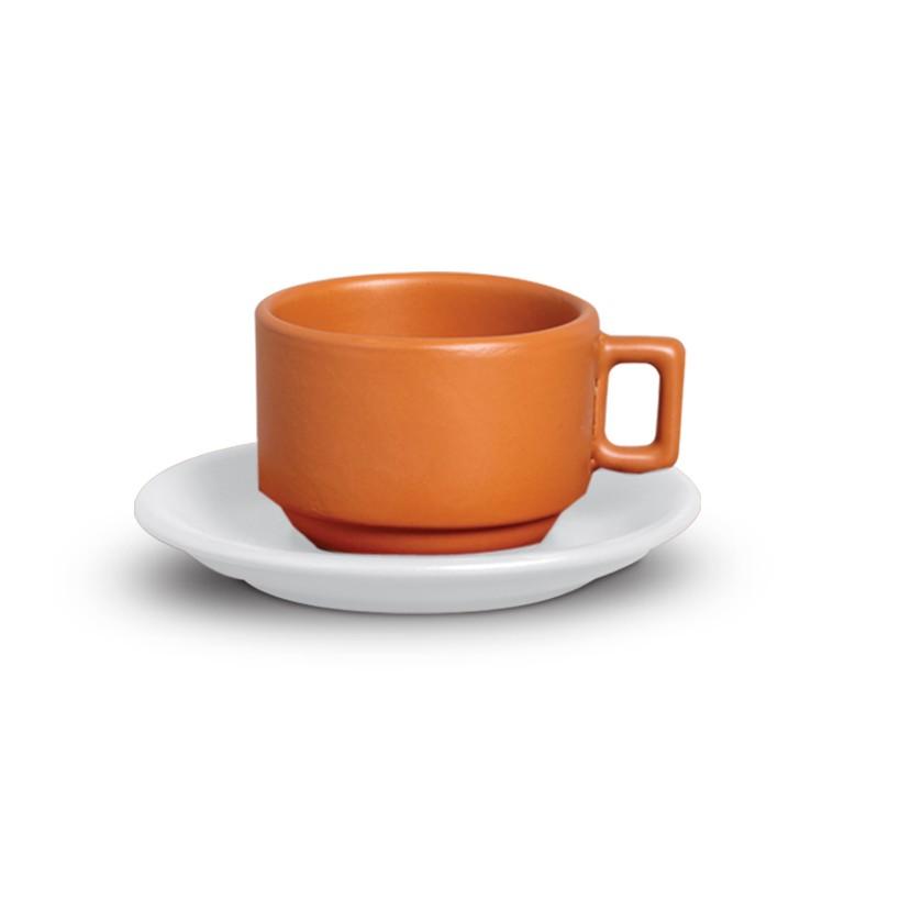 Xicara de Cha de Ceramica 200ml com Pires Tijolo - Nova Imagem