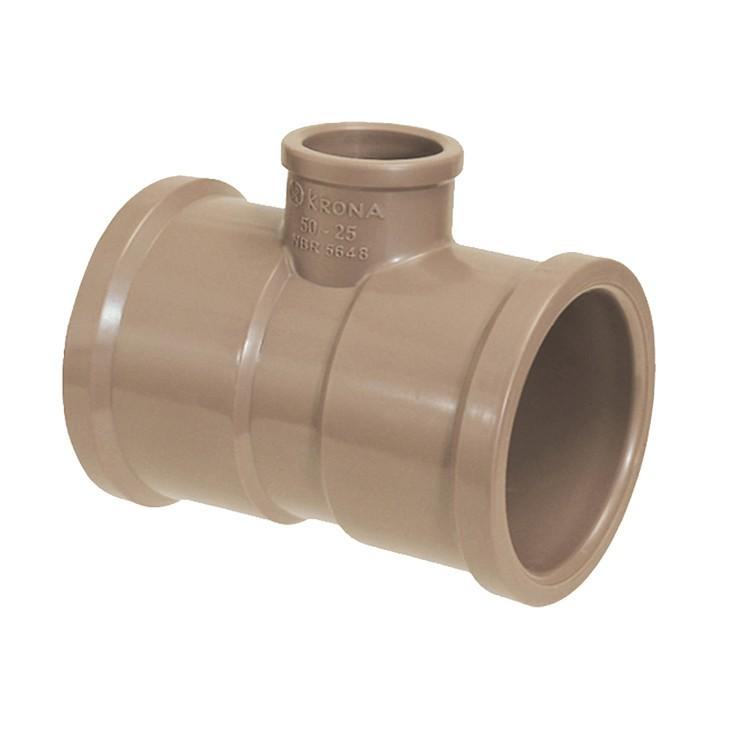 Te de Reducao Soldavel PVC Marrom 32 mm x 25 mm - Krona