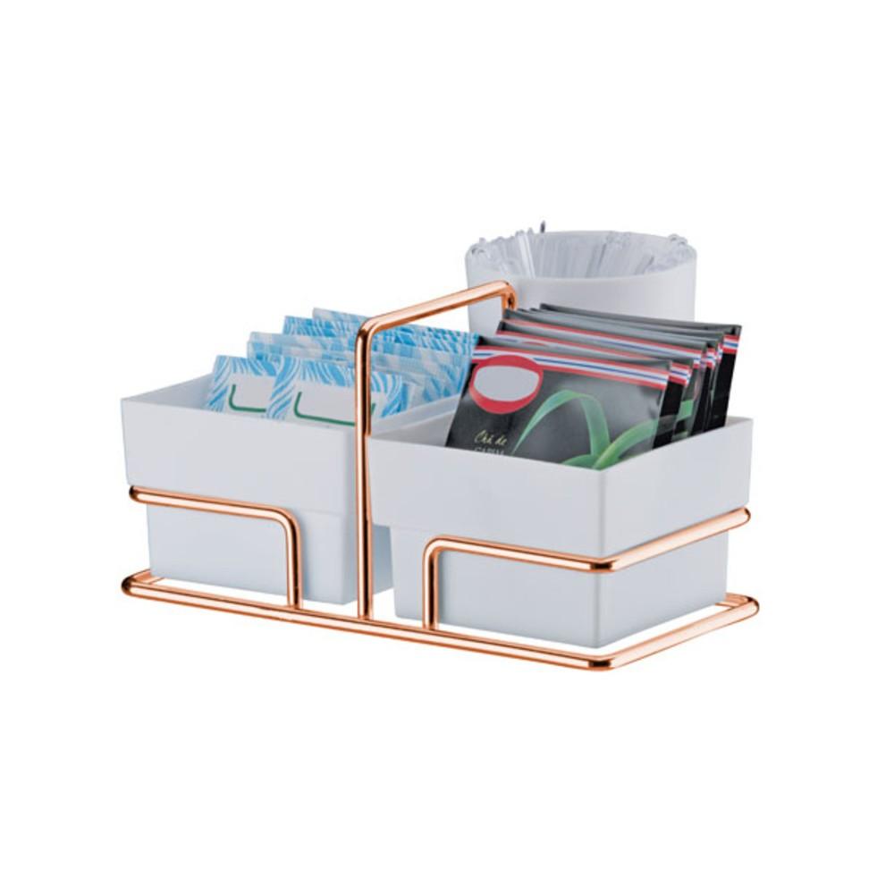 Porta-sache Plastico 3 divisorias Cromado Branco 1154 - Future
