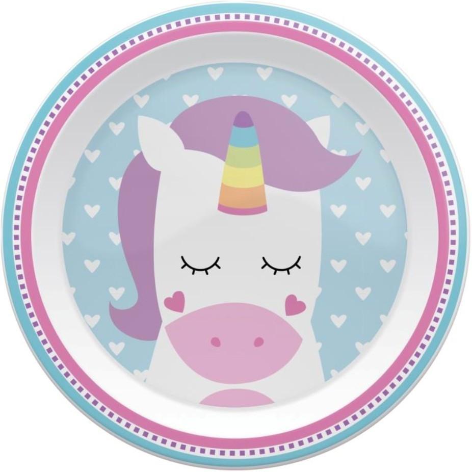 Pratinho Infantil Plastico Unicornio Colorido - Buba