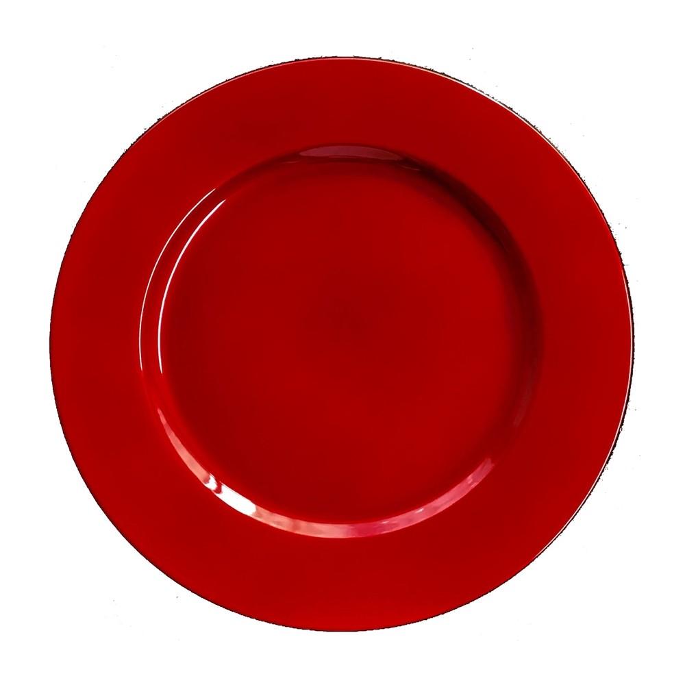 Sousplat Redondo Plastico 33cm Vermelho - Rafimex