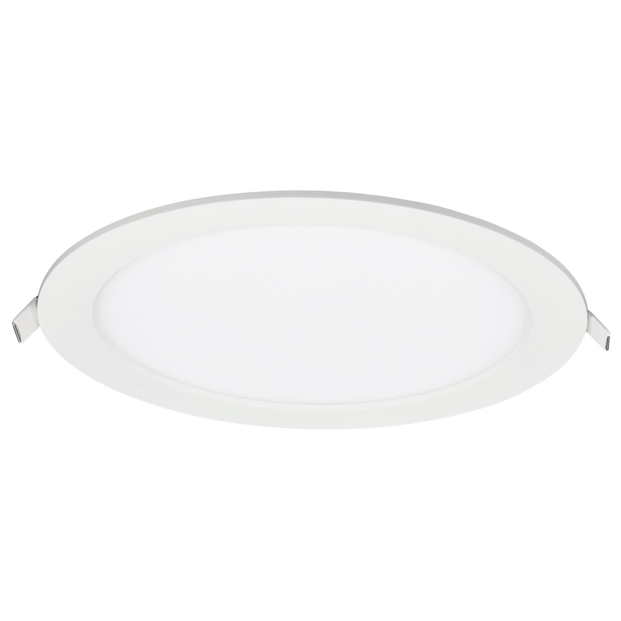 Painel LED Redondo de Embutir em Aluminio Luz Amarela 12W Bivolt - Ecoline