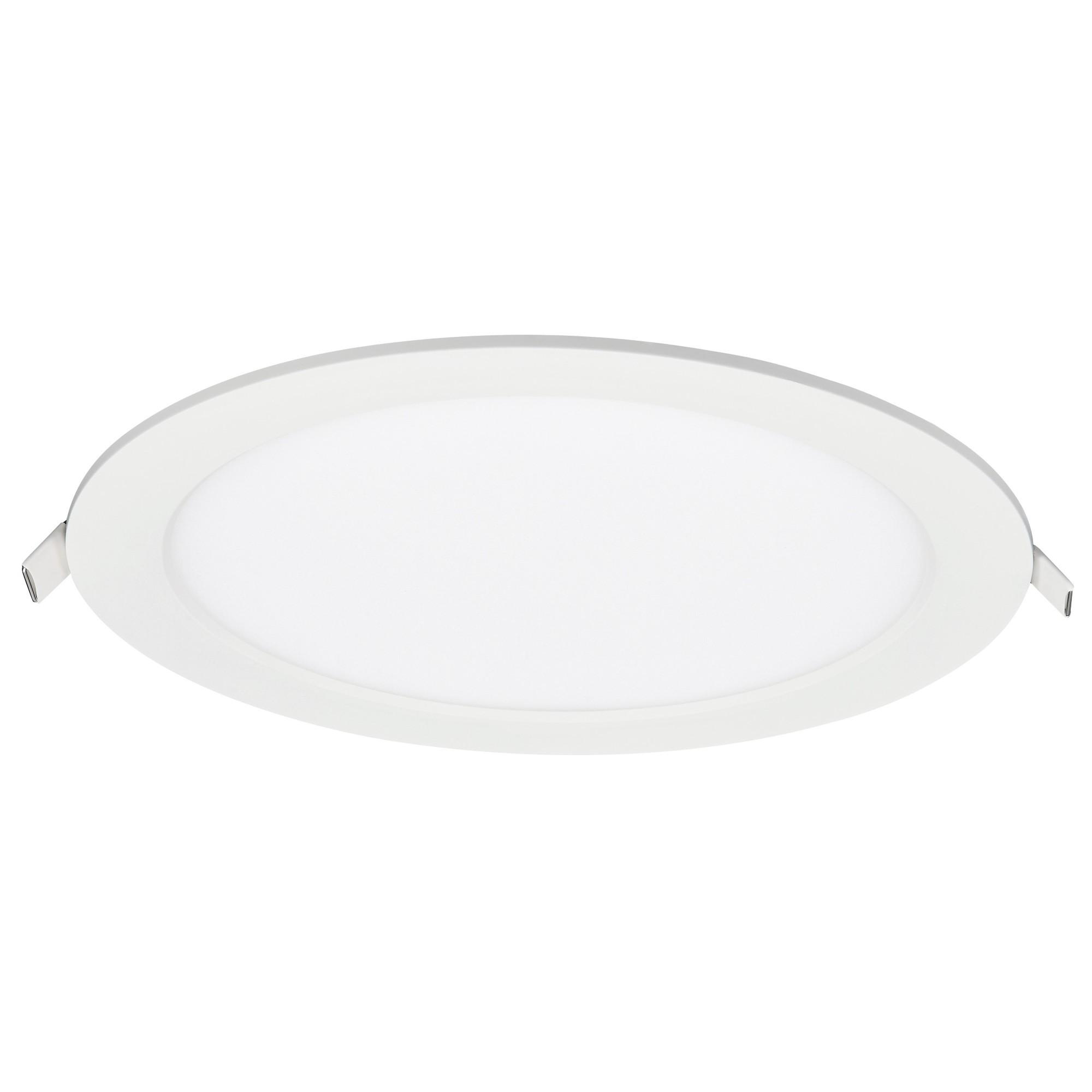 Painel LED Redondo de Embutir em Aluminio Luz Amarela 24W Bivolt - Ecoline