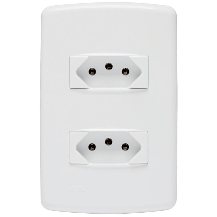 Conjunto de Tomada de Energia 2 Modulos 2P T 10A Branco - Iriel