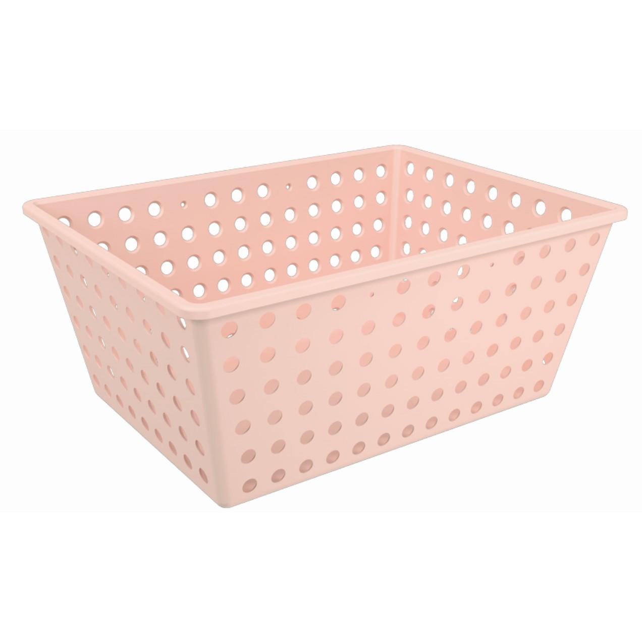 Cesta Organizadora de Plastico 29x38cm Retangular Rosa Blush - Coza