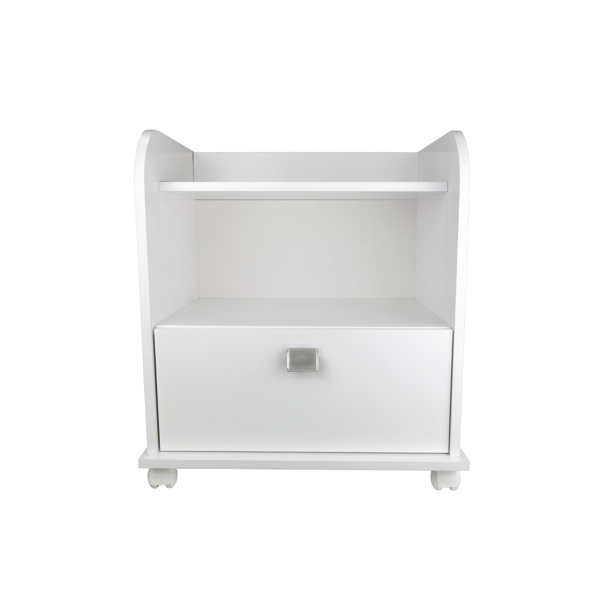 Mesa de Cabeceira 52 x 59 cm 1 Gaveta Branco - Multivisao