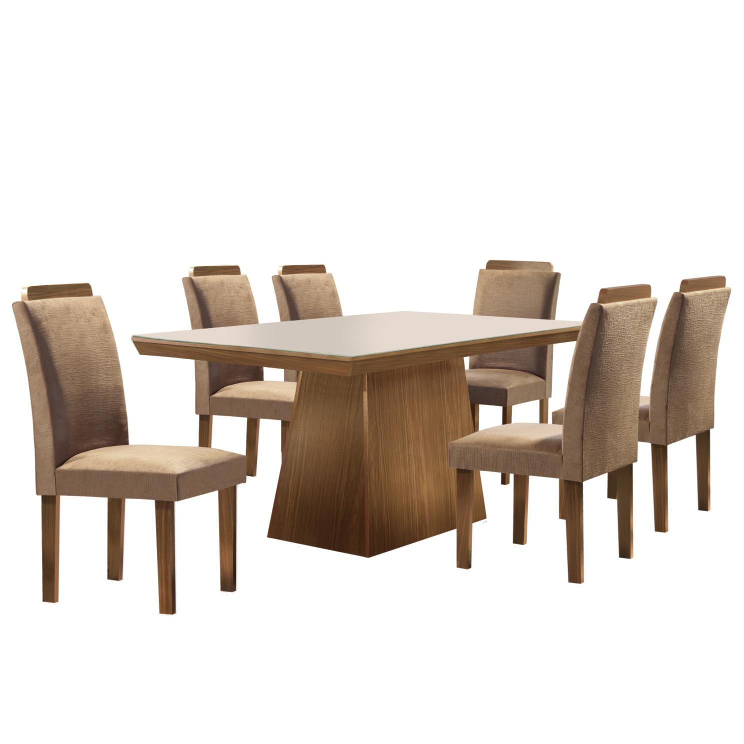 Conjunto de Mesa 180 x 90 cm Pietra Com 6 Cadeiras Marrom - LJ Moveis