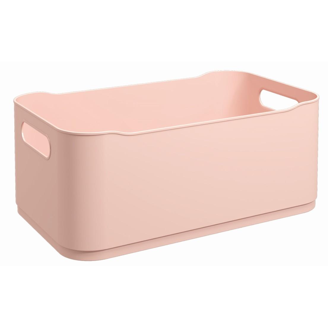 Cesta Organizadora de Plastico 30x18cm Retangular Empilhavel Rosa Blush - Coza