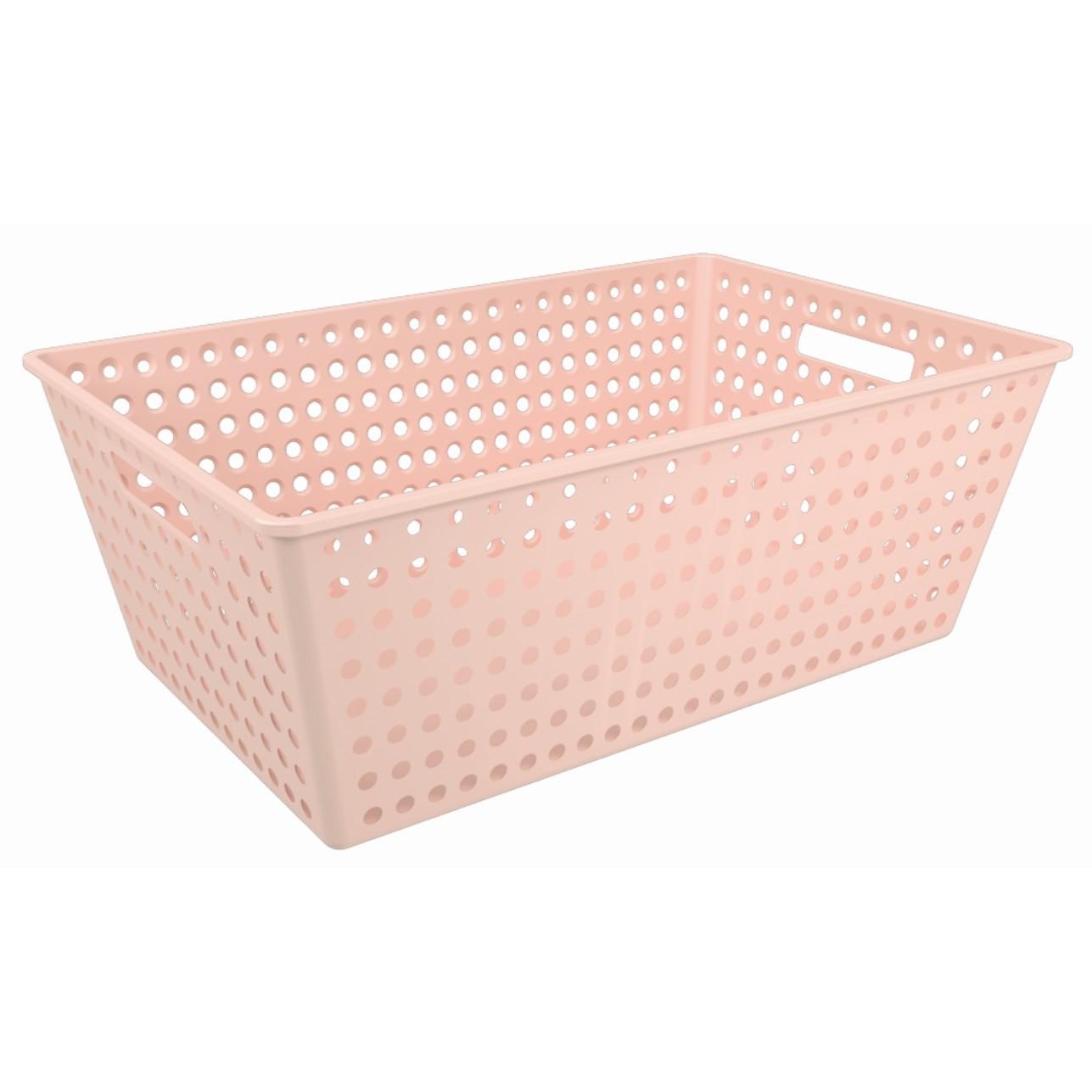 Cesta Organizadora de Plastico 59x38cm Retangular Rosa Blush - Coza