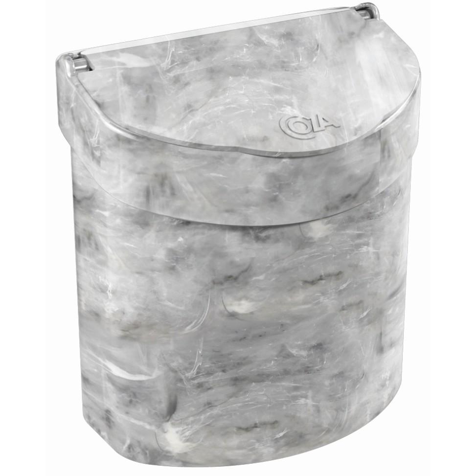 Lixeira com Tampa Manual Meia lua Plastico 27L Marmore Branca - Coza