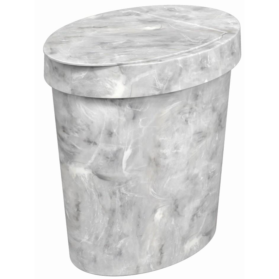Lixeira com Tampa Manual Oval Plastico 5L Marmore Branca - Coza