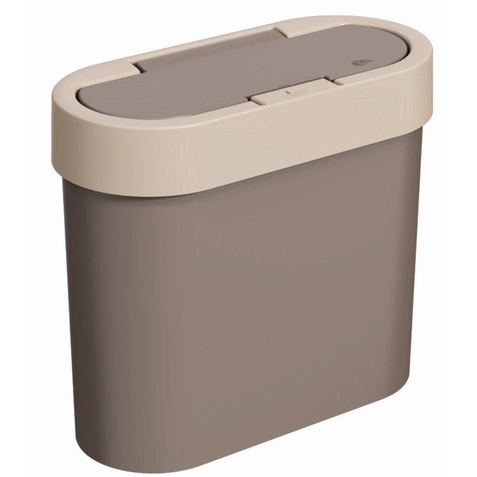 Lixeira com Tampa Click Oval Plastico 28L Warm Gray - Coza