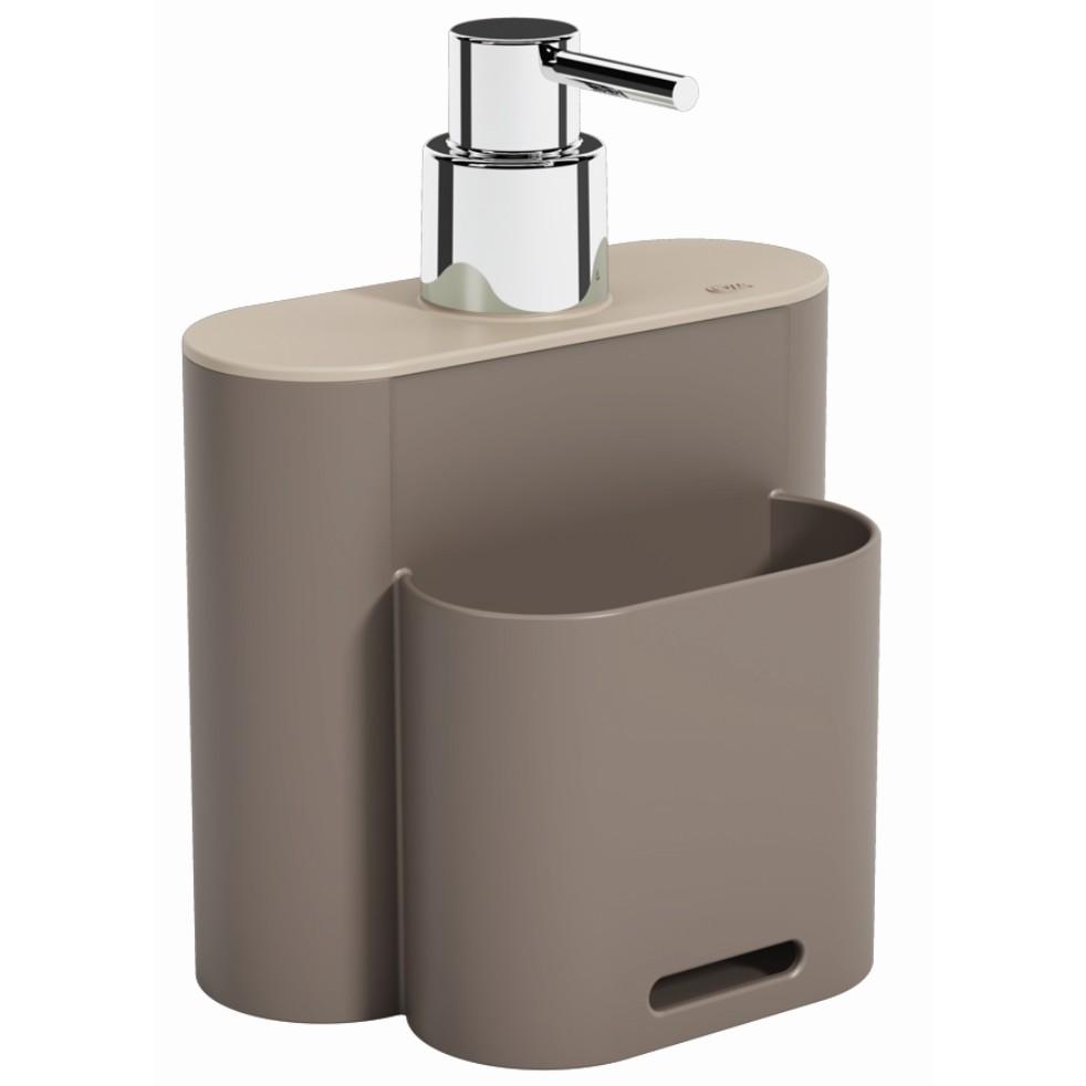 Dispenser com Suporte para Esponja Plastico 500ml Warm gray 170023334 - Coza