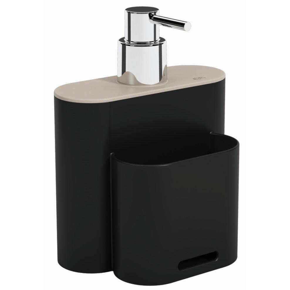 Dispenser com Suporte para Esponja Plastico 500ml Preto 170023333 - Coza
