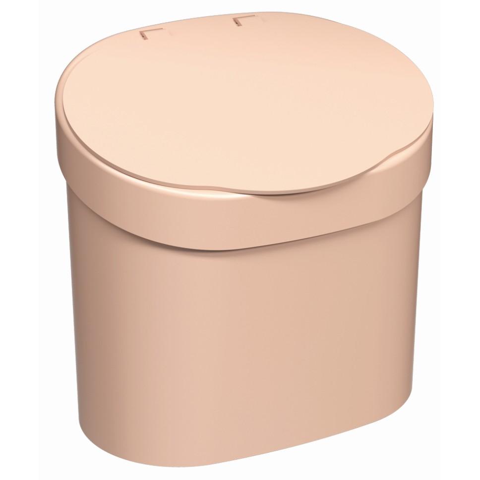 Lixeira com Tampa Manual Redonda Plastico 4L Rosa Blush - Coza