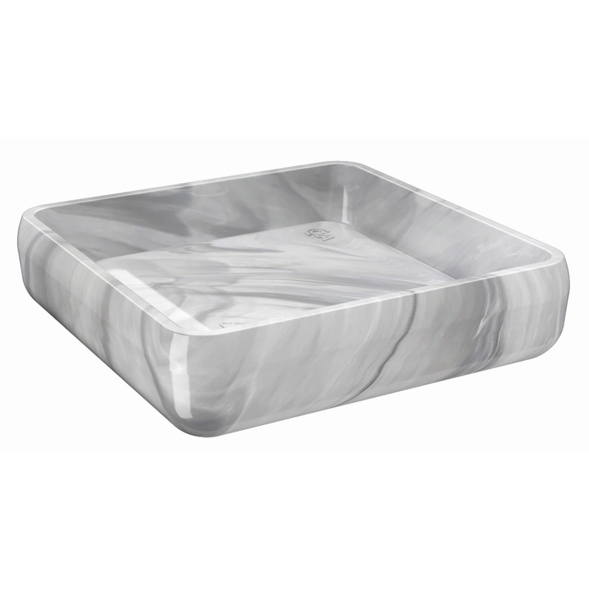 Saboneteira de Bancada Plastico Quadrada Marmore 20875 - Coza